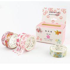 5 pcs Japanese Floral Washi Tape Set Korean Stationery Pink Masking Deco Kawaii #Unbranded