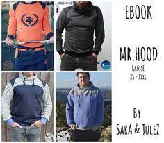 Bei dem Pullover/Hoodie Mr. Hood handelt es sich um ein sehr vielseitiges Ebook für einen Pullover für Herren in den Größen XS-XXXL mit etlichen Variationsmöglichkeiten.  Ob mit Kapuze, ohne Kapuze, mit normaler Kapuze, Stehkragen, Rollkragen oder dem überlappenden Coil-Kragen, die Möglichkeiten sind hier schier unendlich.  Auch kann man ihn mit Kängurutaschen oder einfach ganz schlicht ohne Taschen nähen, jeder kommt hier auf seinen Geschmack!  Genäht werden kann der PullitOver aus Swe...