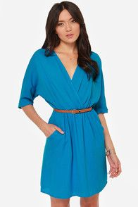 Graduation?? Day by Day Belted Blue Dress