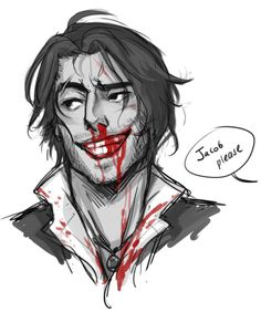 """What?"" He winked at me and flashed his bloodied smile. ""No harm, no foul, right?"" ""Jacob, you're bleeding and that guy in unconcious!"" ""He'll live!"""
