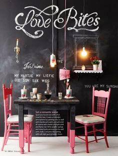 Oh the possibilities of a dining room or kitchen done in chalkboard paint (of any colour). You could change the theme at will!