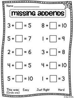 Teaching math · choose an operation - add or subtract - differentiated worksheets first grade worksheets, grade Math Classroom, Kindergarten Math, Teaching Math, Preschool, Classroom Decor, Math For Kids, Fun Math, Math 2, Math Resources