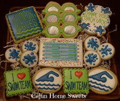 Swim Team Cookies for Carter's birthday Swimming Cupcakes, Swimming Cake, Night Swimming, Swim Cupcakes, Swim Coach Gifts, Swim Team Gifts, Swim Team Party, Swim Team Mom, Swim Meet
