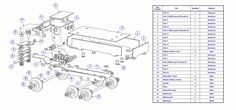 Sheet-metal dump truck model - Parts list