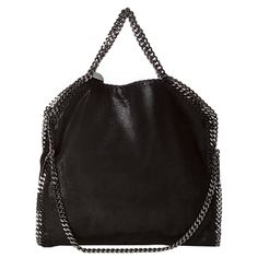 @Overstock.com - This edgy 'Falabella' handbag from Stella McCartney features a signature chain trim with chain-detailed straps. This versatile tote can be folded over an worn as a shoulder bag.http://www.overstock.com/Clothing-Shoes/Stella-McCartney-Falabella-Black-Shaggy-Deer-Fold-over-Tote/7660110/product.html?CID=214117 $899.99