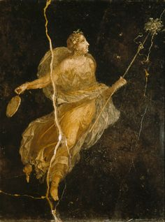 "-- Roman Fresco -- ""Floating Maenad"" -- Century CE -- Excavted from 'The House of the Ship' in Pompeii. Ancient Pompeii, Pompeii Ruins, Pompeii And Herculaneum, Pompeii Italy, Ancient History, Art History, Rome Antique, Art Ancien, Kunst Online"