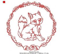 """A gorgeous fox surrounded by an autumnal wreath made up of leaves, berries and acorns. Part of a set of six, which can be purchased individually or as a complete set.  Finished size is 5.04 x 5.04"""" with 10954 stitches.  Also available separately for 8x8 hoops individually or as a complete set.   PES, JEF, VIP, VP3, XXX, HUS, EXP, DST formats"""
