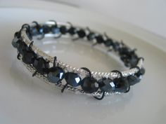 Wire wrapped silver tone bangle bracelets with by LeeliaDesigns, $12.00