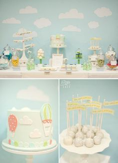 More sweet ideas for a Hot Air Balloon shower or birthday Baby Birthday, First Birthday Parties, Birthday Party Themes, Birthday Ideas, Baby Shower Balloons, Birthday Balloons, Ideas Bautismo, Hot Air Balloon Cake, Balloon Party