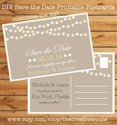 diy printable save the date postcards includes template for avery 8386 customizable stringed lights design