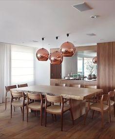 Construindo Minha Casa Clean: Decoração de Salas de Jantar com Pendentes Cobre! Super Tendência!