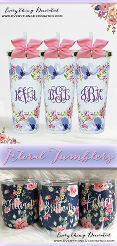Spring is in the Air! Get Your Own Monogrammed Floral Tumblers! Bff Gifts, Bride Gifts, Teacher Gifts, Gifts For Her, Etched Mason Jars, Asking Bridesmaids, Bachelorette Party Gifts, Personalized Bridesmaid Gifts, Maid Of Honour Gifts