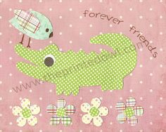 Forever Friends Alligator and Bird 8x10 print by ThePrintedOwl, $10.00