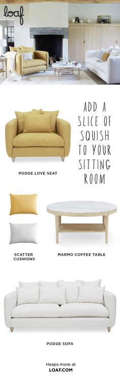 Podge by name, podge by nature! Indulge in this upholstered love seat, with two rows of scatterback cushions on a deep slice of squidge. Grey Skies, Room Colors, Dining Bench, Sofas, Love Seat, Sunshine, House Ideas, Palette, Cushions