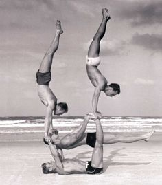 Beach gymnasitcs on Oak Street Beach, Chicago, 1950