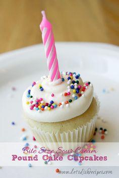 Sour cream poundcake cupcakes.  For full size bake for 22-24 min.