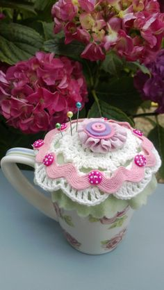 vintage tea cup as pin cushion created with Tilly soft crafts by Docrafts