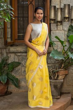 Yellow Semi Raw Silk Saree with Silver Motifs | House Of Blouse