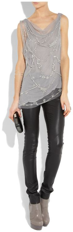 Alice + Olivia January Embellished Tulle Top in Gray