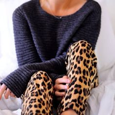 leopard pants with chunky sweater
