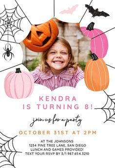 Cute Halloween - Birthday Invitation #invitations #printable #diy #template #birthday #party Halloween Birthday Invitations, Birthday Invitation Templates, Cute Halloween, Party, Printable, Island, Diy, Bricolage, Parties