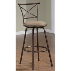 29-Inch Metal Bar Stool with Brown Upholstered Seat and X-Back, Set of 2 #coasterfurniturebrown