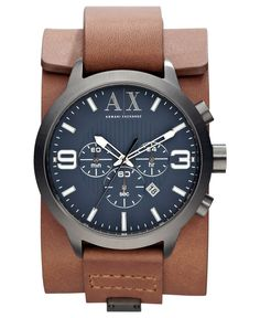 A|X Armani Exchange Watch, Mens Chronograph Brown Leather Cuff Strap 48mm AX1274