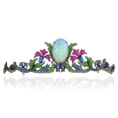 GABRIELLE'S AMAZING FANTASY CLOSET | Lydia Courteille Topkapi Floral Opal Tiara with Sapphires, Tsavorites, Rubies and Spinels