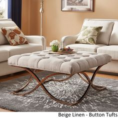 Solene X Base Square Ottoman Coffee Table - Champagne Gold by iNSPIRE Q Bold ([Beige Linen]- Button Tufts), Size Large (Fabric)