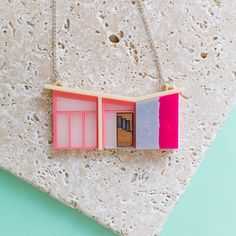 Palm Springs Pink Mid-Century House Necklace - mid-century necklace - mid century - mid-century jewellery - mid-century modern jewellery by finestimaginary on Etsy https://www.etsy.com/listing/493505073/palm-springs-pink-mid-century-house