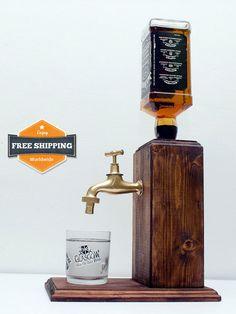 Handmade Wooden Alcohol Dispenser Whiskey by SteamVintageWorks