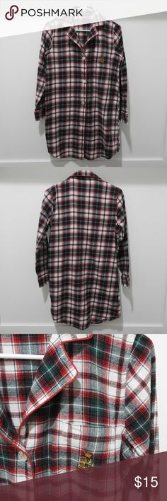 Lauren Ralph Lauren Classic Flannel Sleep Shirt Lauren Ralph Lauren Classic  Flannel Sleep Shirt Green Red Plaid Size S Classic styling meets total  comfort ... 8ec52d22c