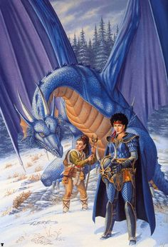 Another version of artist Larry Elmore's Dragons of Winter Night cover. This one features just Tasselhoff Kitiara (more recognizable without her Highlord's helmet on), and Skie the blue dragon High Fantasy, Medieval Fantasy, Fantasy Books, Fantasy Artwork, Fantasy Characters, Fantasy Dragon, Fantasy Warrior, Dragon Art, Blue Dragon