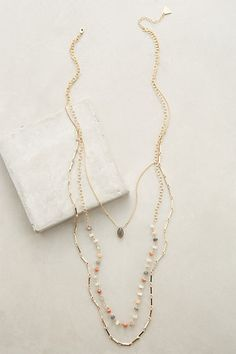 Marquis Layered Necklace #anthropologie I love moonstone.