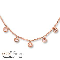 Bezel-set morganites lend fresh color to this pretty station necklace from the Earthly Treasures Smithsonian® collection. Fashioned in 14K rose gold, the stations suspend from a 17.62-inch cable chain that secures with a lobster clasp. Morganite is pink beryl. Earthly Treasures Smithsonian® Morganite has been treated to permanently create its color. Exclusively available from Jared® the Galleria of Jewelry.Morganite has been treated to permanently ...