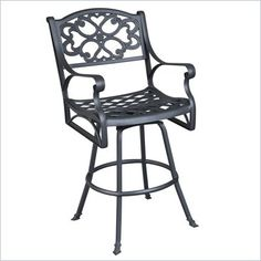 Home Styles Biscayne Swivel Stool in Black Finish - 5554-89