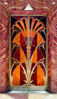 Decopix - The Art Deco Architecture Site - Woodwork, Leather & Linoleum Gallery. These elevator doors are in the Chrysler Building in New York City.  I remembered these doors right away.  My Aunt worked for Texaco in this beautiful building