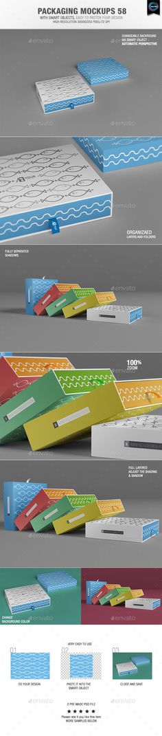Packaging Mock-ups 58  With smart objects, easy to paste your design 02 Pre made psd file High resolution 3000×2250 pixel Changeable background via smart objects – Automatic perspective Organizaed Layers and folders