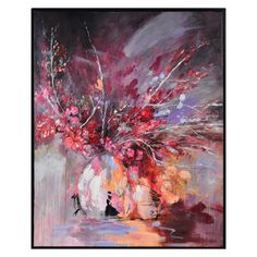 The Ren-Wil Summer Midnight Wall Art blends bright, vivid colors of purple, peach, and fuchsia together to create a vibrant abstract painting. Painting Frames, Painting Prints, Art Prints, Art Encadrée, Canvas Art, Canvas Prints, Floral Theme, Wall Decor, Wall Art