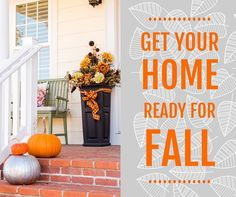 Your Home's Fall Checklist: 1. Check Windows & Doors 2. Inspect Roof & Clean Gutters 3. Trim the Trees 4. Replace Batteries in Home Safety Devices 5. Stock Up on Firewood 6. Put Away all Summer Furniture 7. Check Water Drainage 8. Clean Your Humidifiers 9. Winterize Your Home 10. Invest in a Good Emergency Generator #HelloFall