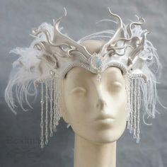 Snow Queen Leather Headdress with Beaded Jewels and by beadmask, $225.00 by therese