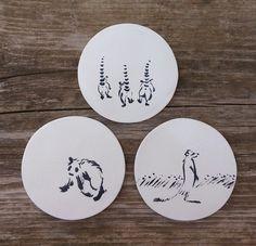 Handpainted ceramic coasters. Homedecor, kitchenware, kitchen, unique, animals. Coasters by Aura Kajas