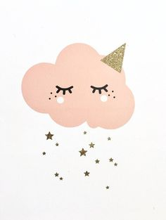 Large pink eyelash clouds stickers with golden glitter stars. This cloud stickers will be ideal to identify or decorate the room of your little end. Available in powder, powder pink, taupe, blue