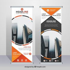Business roll up with decorative forms in orange tones Free Vector Roll Up Design, Pop Design, Graphic Design Tips, Graphic Design Inspiration, Design Design, Graph Design, Flyer Design, Web Banner Design, Web Banners