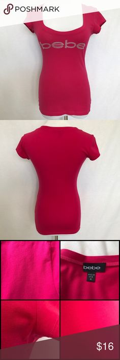 Bebe Logo T-Shirt Worn a few times. Had some tiny spots. Fuchsia color. No Trades bebe Tops Tees - Short Sleeve