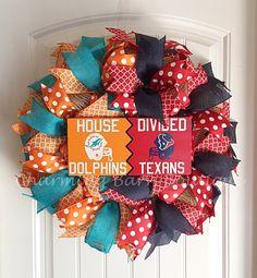 Custom Order for LYNNI, House Divided Wreath, Houston Texans Wreath, Miami Dolphins Wreath, NFL Wreath, NFL Decor, Texans Decor, Miami Decor by CharmingBarnBoutique on Etsy