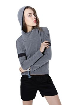 Sports Luxe, Grey Hoodie, Black Shorts, Hoods, Spring Summer, Turtle Neck, Clothes For Women, Sweatshirts, Model