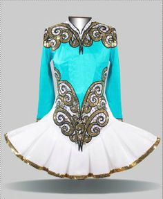 Like the aqua blue and gold together   Elevation Design Irish Dance Solo Dress Costume