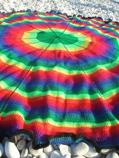 IN THE ROUND Rainbow Color Scheme --  Rainbow Circle Crochet Afghan