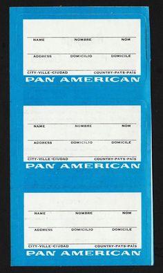 City Ville, Pan Am, Luggage Labels, Baggage, American, 1980s, Vintage, Cities, Vintage Comics